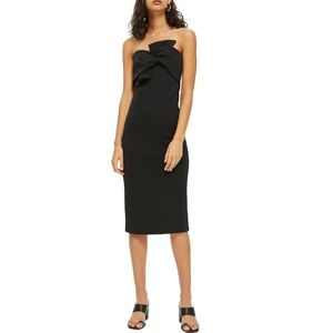 Topshop twist front tie bow dress strapless 4